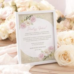 INSTRUKCJA do księgi gości. Grafika stylizowana na styl retro. Pastelowe dzikie róże otaczają imiona Pary Młodej.