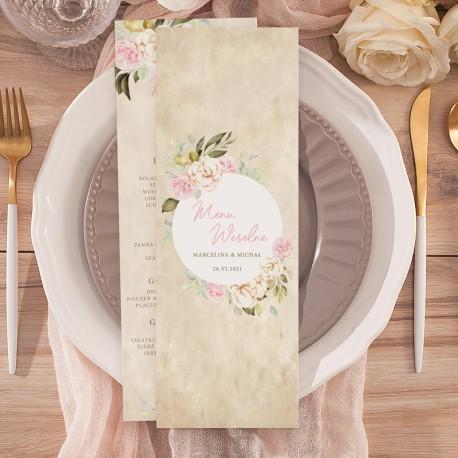 Menu weselne z imionami Pary Młodej. Kremowe tło z okręgiem dekorowanym kwiatami. Styl vintage.