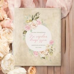 ALBUM ślubny na zdjęcia. Prezent dla Młodej pary. Grafika retro z kwiatami stylizowana na pergamin.
