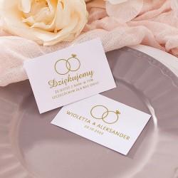 Bilecik personalizowany idealnie sprawdzi się jako podziękowanie dla gości weselnych. Udekorowany jest grafiką z kolekcji Obrącz