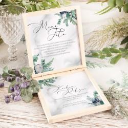 PUDEŁKO drewniane z prośbą o błogosławieństwo rodziców. Grafika zimowych leśnych gałązek i kwiatu bawełny. Imiona Pary Młodej.