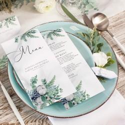 MENU weselne z grafiką z kolekcji Magicznej. Grafika zielonych leśnych gałązek. Imiona Pary Młodej.