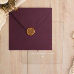 ZAPROSZENIE ślubne akrylowe - przezroczyste Purpurowe Róże