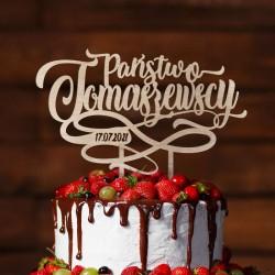 TOPPER na tort weselny z nazwiskiem Młodej Pary