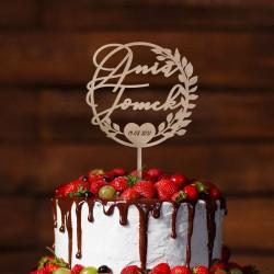 TOPPER dekoracyjny na tort personalizowany Wianek z Listkami