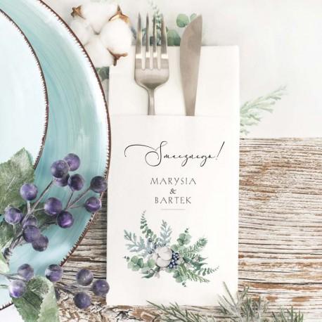 Kieszonka na sztućce z personalizacją. Wyjątkowa dekoracja weselnego stołu, grafika z kolekcji Magiczna.