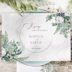 Księga gości weselnych w nowoczesnym stylu, udekorowana grafiką z kolekcji Magiczna. Idealna atrakcja na wesele dla gości.