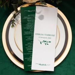 Menu weselne dwustronne wzbogacone o piękny kolor butelkowej zieleni. Efektowna dekoracja stołu na wesele.