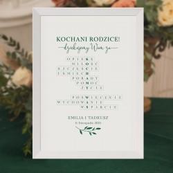 Podziękowanie dla rodziców na weselu. Plakat w białej ramce. Na białej kartce zielona grafika z krzyżówką oraz zielona gałązką.
