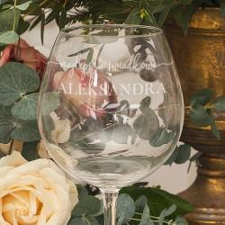 KIELISZEK do Wina Prezent dla Świadkowej Butelkowa Zieleń