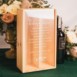 SKRZYNIA na 2 wina Podziękowanie ślubne dla rodziców Butelkowa Zieleń