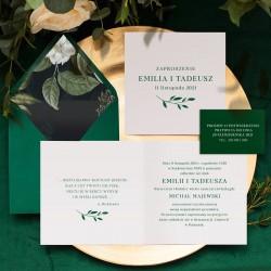 Zaproszenie na ślub biało-zielone. Otwierana karta z kopertą w zestawie. Dołączony bilecik RSVP.