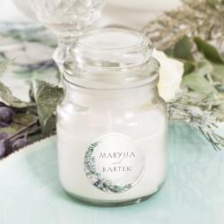 Świeczka zapachowa w szklanym słoiczku. upominek dla gości weselnych.