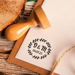 PIECZĄTKA stempel do dekoracji ślubnej papeterii Wianek (+tusz)