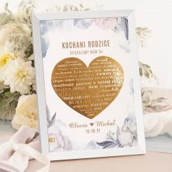 Plakat personalizowany ślubny z grafiką z kolekcji Coś Niebieskiego. Idealne podziękowanie dla rodziców.