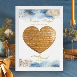 Podziękowanie dla rodziców w postaci personalizowanego plakatu. Piękna kolekcja ślubna Złoto-Granatowa.