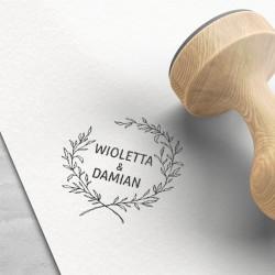 PIECZĄTKA stempel do ślubnej dekoracji papeterii Wianuszek (+tusz)