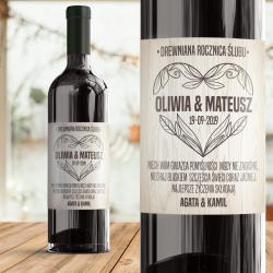 Personalizowana etykieta na wino. Prezent na drewnianą rocznicę ślubu dla pary.