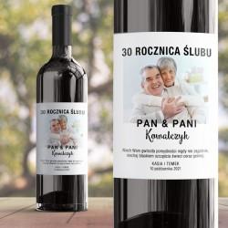 Etykieta personalizowana na wino ze zdjęciem. Prezent na rocznicę ślubu dla pary.