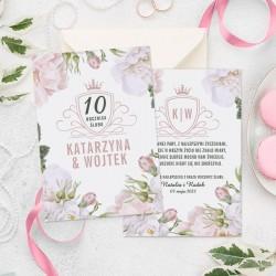 Okazjonalna kartka z motywem kwiatów idealnie sprawdzi się jako prezent na rocznicę. Na kartce umieścimy życzenia.