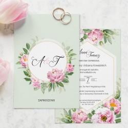 Zaproszenie ślubne w pistacjowym kolorze, wzbogacone o motyw kwiatów w różowym odcieniu.