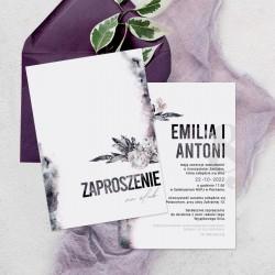 Zaproszenie ślubne wzbogacone o personalizację. Personalizowane zaproszenie wzbogacone o fioletowy kolor.