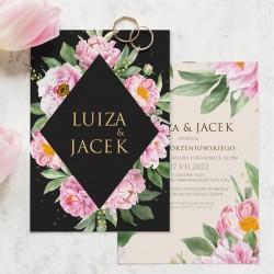 Zaproszenie personalizowane na ślub w modnej kolorystyce z czarnym i beżowym zdobieniem. Wzbogacone o różowe kwiaty.