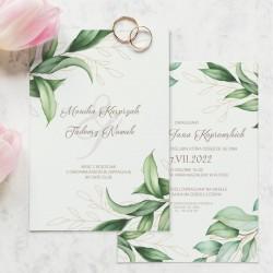 Personalizowane zaproszenia ślubne z motywem zielonych gałązek, zachowane w jasnej kolorystyce.