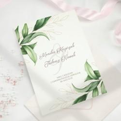 ZAPROSZENIE na ślub personalizowane Zielone Listki