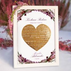 Plakat ze złotym sercem i podziękowaniami ślubnymi dla rodziców, w białej ramce