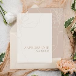 Zaproszenie ślubne w jasnej kolorystyce, w odcieniu nude. Personalizowane zaproszenie na ślub.