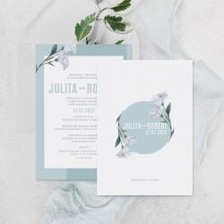 Zaproszenie na ślub personalizowane Niebieskie Kwiaty