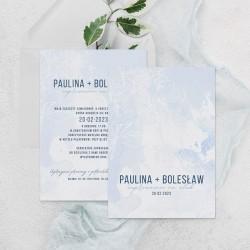 Zaproszenie błękitna mgiełka widok okładki z imionami pary i datą na dole karty