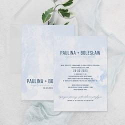 ZAPROSZENIE ślubne personalizowane Błękitna Mgiełka
