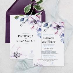 Zaproszenie ślubne dwustronne ze zdobieniem w kwiaty malowane akwarelą