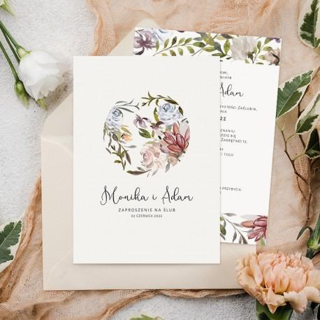 Zaproszenie ślubne z kwiatami dzikiego ogrodu w okręgu oraz imionami na okładce
