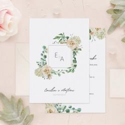 Zaproszenie na ślub z inicjałami na okładce w geometrycznej ramie z różami.