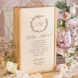 SKRZYNIA na 2 Wina Podziękowanie ślubne dla Rodziców Romantyczny Ślub