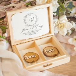PUDEŁKO na Obrączki drewniane Romantyczny Ślub