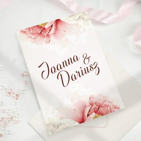ZAPROSZENIE ŚLUBNE z różowymi kwiatami i imionami narzeczonych na okładce