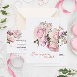 Personalizowane zaproszenie z bilecikiem w jasnej kolorystyce. Idealnie sprawdzi się, aby zaprosić gości na wesele.