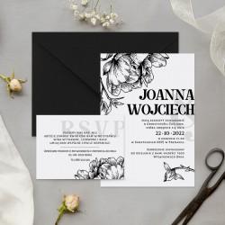ZAPROSZENIE ślubne personalizowane Czarne Kwiaty