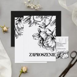Zaproszenia ślubne w białym kolorze z grafiką czarnych kwiatów. Personalizowane zaproszenia na ślub.