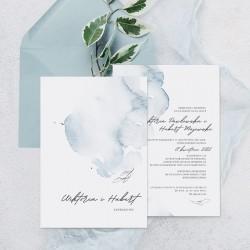 Zaproszenie ślubne z motywem błękitnej akwareli i imionami narzeczonych na okładce