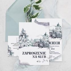 Zaproszenie z bilecikiem w jasnej kolorystyce. Idealnie sprawdzi się, aby zaprosić gości na wesele.