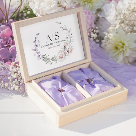 Pudełko drewniane na obrączki z modną grafiką z kolekcji LiMarte. Idealny dodatek na ślub.