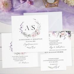 Personalizowane zaproszenia na ślub z grafiką wianka. Nowoczesny motyw delikatnych kwiatów.