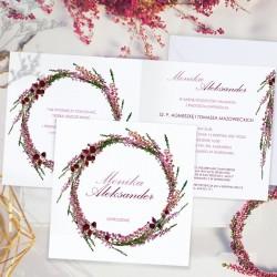 Zaproszenie personalizowane z imionami narzeczonych na okładce zaproszenia.