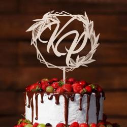 TOPPER dekoracyjny na tort geometryczny wzór Z INICJAŁAMI