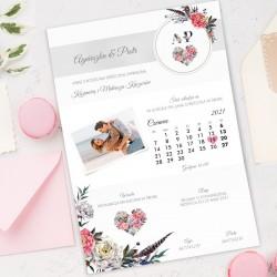 Zaproszenie w postaci daty wpisanej do kalendarza. Nowoczesny dodatek na Wasz ślub, aby zaprosić gości.